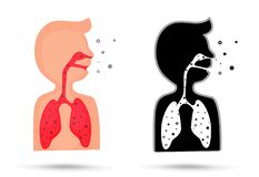 Small dust from toxic fumes when inhaled will harm the lungs vector illustration