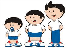 Small e young boys. Illustration of boy and its phases of growth Stock Photo
