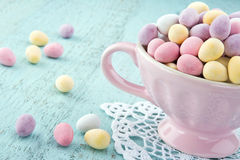 Small easter eggs in a pink cup Stock Photography