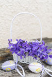 Small  easter eggs  in a white basket with violets Royalty Free Stock Photos