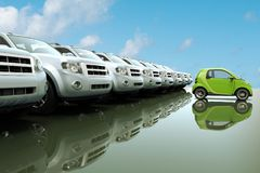 Small, eco friendly car in front of a row of large cars. 3D rendering of small, eco friendly car in front of a row of large cars Royalty Free Stock Photos