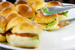 Small egg hamburger snack Stock Image