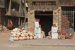 Small egyptian pottery manufacture stock photos