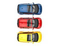 Small electric cars - primary colors Royalty Free Stock Photos