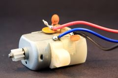 Small Electric Motor With Multicolored Wires Royalty Free Stock Image