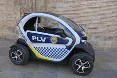 Small electric police car in Valencia, Spain Royalty Free Stock Photo