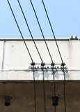 Small electric wire on the high bridge. Royalty Free Stock Images