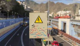 Small electrical switch box with graffity painting Stock Photos