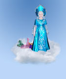 Small elegant girl on a cloud Royalty Free Stock Image