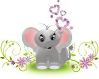 Small elephant with floral hearts Royalty Free Stock Photography