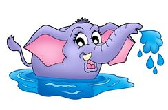 Small elephant in water. Color illustration of small elephant in water stock illustration