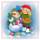 Small elf  decorates the moulded snowman. Childrens illustration by a holiday     -   Little Elf sculpts snowman Stock Images
