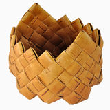 Small empty braided birch-bark box Stock Image