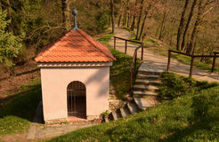 A small empty chapel in the woods Royalty Free Stock Images