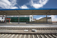Small empty Chinese train station in Tibet Region Royalty Free Stock Image