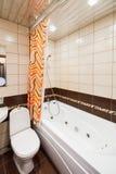 Small empty new bathroom interior. Contemporary living flat Stock Photos