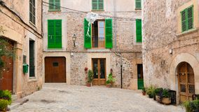 Small empty square in the village of Valldemossa, Majorca Royalty Free Stock Image