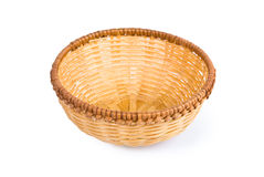 Small empty wicker basket. On white background Royalty Free Stock Photos