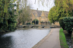 Small English village bridge landscape. Bourton on the water bridge landscape Royalty Free Stock Image