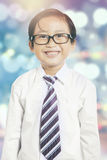 Small entrepreneur with bokeh background Royalty Free Stock Photos