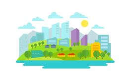 Small eco-friendly city in the background of nature landscape Trees buildings water and mountains Stock Photography