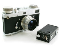 Small espionage photo camera and film camera. Isolated on a white background Royalty Free Stock Photos