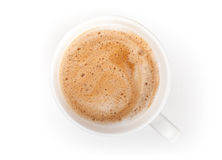 Small espresso coffee cup. Top view on white Stock Image