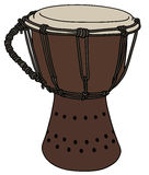 Small ethno drum. Hand drawing of a classic wooden small ethno drum Stock Photos