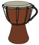 Small ethno drum. Hand drawing of a wooden small african ethno drum Royalty Free Stock Image