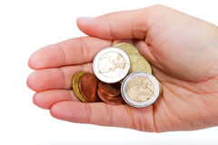 Small euro change in female hand. Isolated on white Stock Image