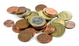 Euro coins. Small euro coins isolated. small euro coins isolated royalty free stock photography