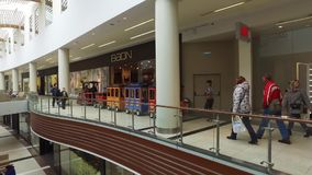 Small excursion train in VEGAS shopping mall in Moscow, Russia stock footage