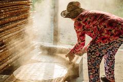 Small factory of rice noddles for vietnamese food Stock Images