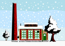 Small factory in winter landscape Royalty Free Stock Images