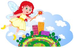 Small fairy flies over town Royalty Free Stock Photo