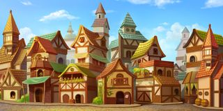 Free Small Fairy Tale Town. Fiction Backdrop. Concept Art. Realistic Illustration Royalty Free Stock Image - 135286496