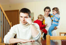 Small family with children after quarrel Royalty Free Stock Photos
