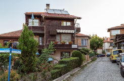 Small family-run hotel in the old town of Sozopol, Bulgaria. Sozopol, Bulgaria - July 10, 2015.  A small family-run hotel in the old town Royalty Free Stock Images