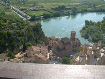 The town of Miravet with the river Ebro, Tarragona royalty free stock photography
