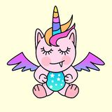 Little Mythical Monster. A small fantasy creature with unicorn and pegasus features. Vector illustration Stock Photography