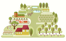 Small Farm. Illustration of abstract map of farm, with various plants and animals. Travel theme series. Elements useful for agriculture infographics. Flat style Royalty Free Stock Photo