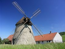 Small farm with windmill. In Kuzelov, Czech Republic Stock Photography