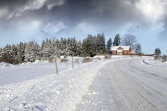 Small farm, winter and snoiw Royalty Free Stock Images