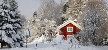 Small farm, winter and snoiw Stock Photo