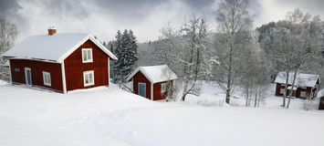 Small farm, winter and snow Royalty Free Stock Photography