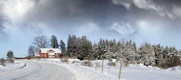 Small farm, winter and snow Stock Photos