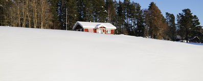 Small farm, winter and snow Stock Images
