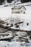 Small farmhouse in alps. Landscape Royalty Free Stock Image