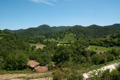 Small farms in the Pyrenees Stock Images