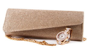 Small fashion female bag and watch Stock Image